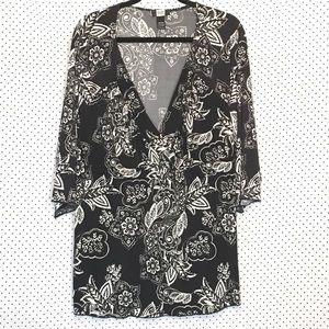 Studio 1940 Floral Plunge V Neck 3/4 Sleeve Blouse